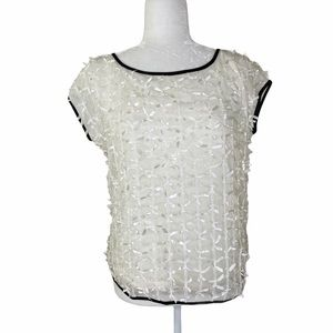 ANN TAYLOR Ivory Ribbon Detail Top Small New